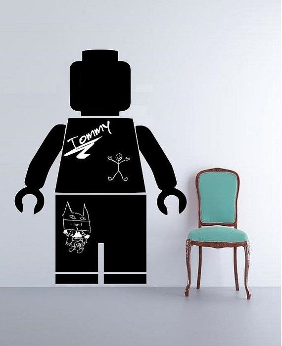 Chalkboard Vinyl Decal Lego Decals, Children decals wall sticker for kids Nursery Decal