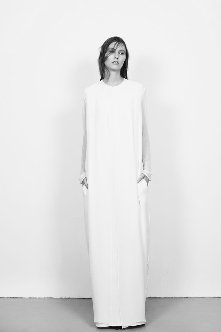 Casual flowy white dress fashion style 2015 - Chic Minimalist Style Long White Dress With Sheer Sleeves Charlie May A W 2013