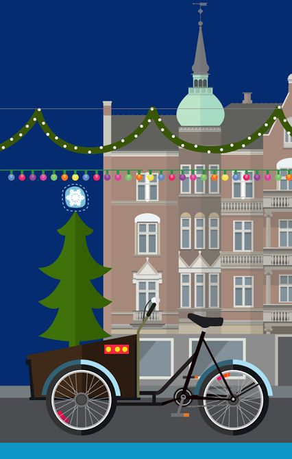 Poul Henningsens Plads Christmas tree lot - Illustration #Sivellink     Christiania Bikes® UK - Google+