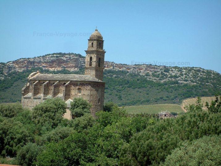 Landscapes of the inland Corsica: Saint-Martin de Patrimonio church, trees, vineyards and hill - France-Voyage.com