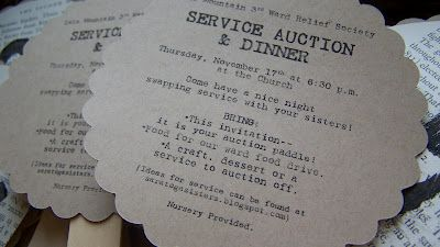 Service Auction printables - I did this in my ward several years ago and loved it!