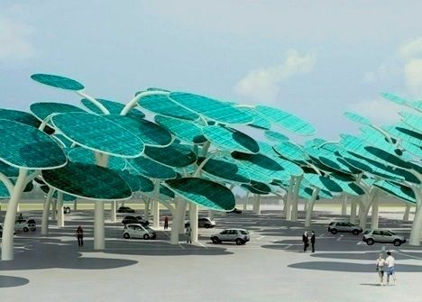 Shade + renewable energy= solar forest.  I think every parking lot should have one, personally.
