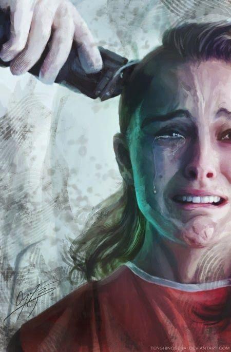 As pinturas baseadas em filmes de Angela Bermúdez - Natalie Portman como Evey Hammond em V de Vingança (V for Vendetta)