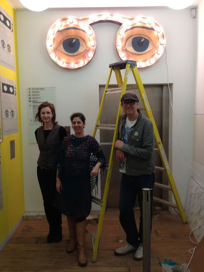 """Simon Costin, Director of the Museum of British Folklore, preparing for the """"Black Eyes & Lemonade"""" exhibition, which runs from 9 March 2013 at the Whitechapel Gallery, London"""