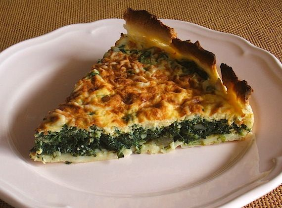 Spinach pie | Food From Portugal. A very pleasant pie and easy to prepare, stuffed with chopped spinach confectioned in a sautéed of olive oil, onion and garlics, which goes to oven drizzled with a sauce of eggs and cream, sprinkled with grated cheese. http://www.foodfromportugal.com/spinach-pie/