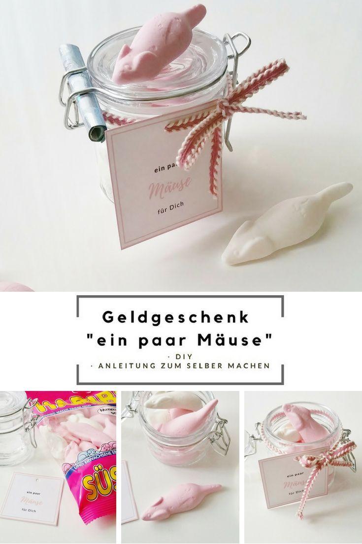 """Geldgeschenk im Glas """"Mäuse"""" & Free Printable DIY"""