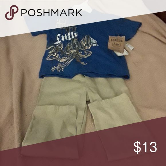 NWT set of pants and polo shirt Comfortable polo tee shirt with the words 'little rebel' and khaki casual pants. It was a gift to my child. He was not able to use it. little rebels Other
