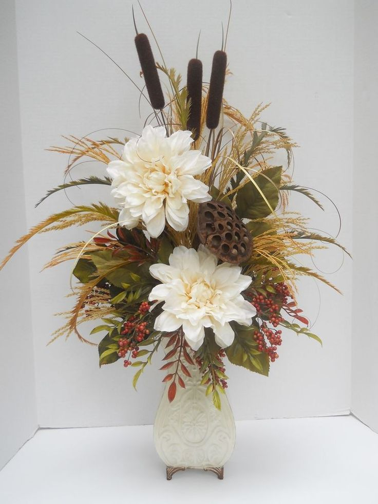 Details About Silk Flower Floral Arrangement In Decorative