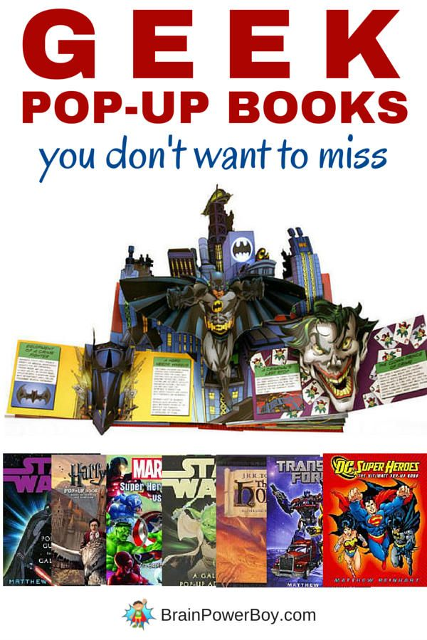 Feeling geeky? You are going to love these Geek Pop-Up Books. Star Wars, Harry Potter, The Hobbit, DC & Marvel Superheroes and more. Awesome!