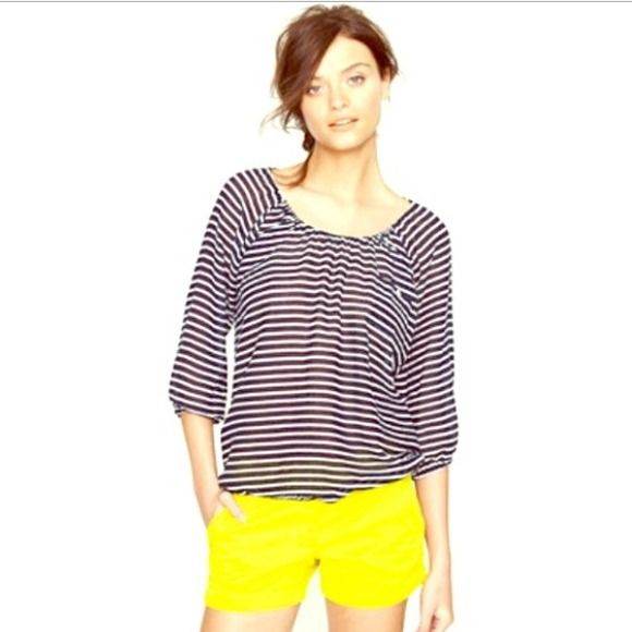 J Crew top In good condition J Crew stripe cotton top. Great with shorts or pants. Pair with white or red and here you go you are in nautical theme! J. Crew Tops Blouses