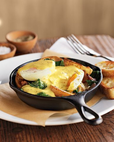 A pair of small cast iron skillets, perfect for breakfast.