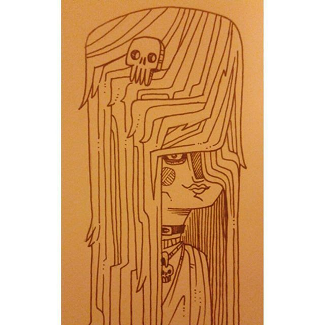 """Goth Gurl"" #kenny_poppins #dailydoodle #sketchbook #drawing #goth #ink"