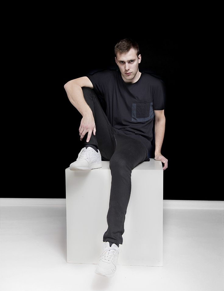 RVLT - men's fashion. Cotton tee with contrast pocket patch.