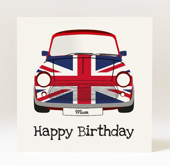 Handmade Mini Cooper Union Jack Birthday Card for by JellyLaneinc