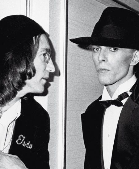 Lennon  Bowie- I don't know how I've never seen this pic! And John is wearing a jacket that says Elvis!!