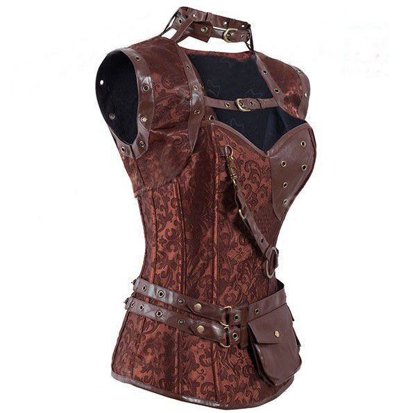 LAUWOO Retro Gothic Black/Brown Steel Boned Corset Steampunk Corsets and Bustiers Mit Jacket Women Leather Corpetes Espartilhos