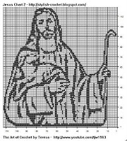 Free Filet Crochet Charts and Patterns: Filet Crochet Jesus and Lamb- Chart 2