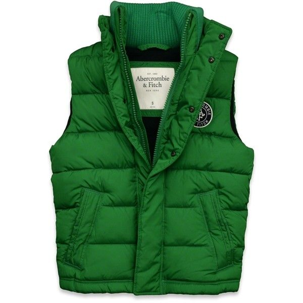 Abercrombie & Fitch Sawteeth Mountain Vest ($80) ❤ liked on Polyvore featuring men's fashion, men's clothing, men's outerwear, men's vests, green, mens zipper vest, mens quilted vest, mens vest outerwear, mens green vest and mens zip vest