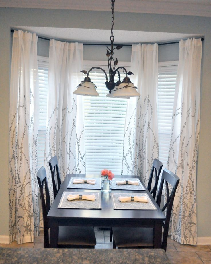 Panel curtain luxury white bay window s window treatments for Window treatments for bay windows in dining room