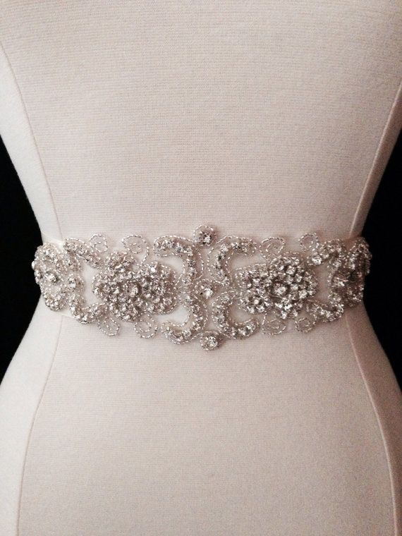 Bridal Sash  Wedding Dress Sash Belt  Crystal by BellaFleurBridal