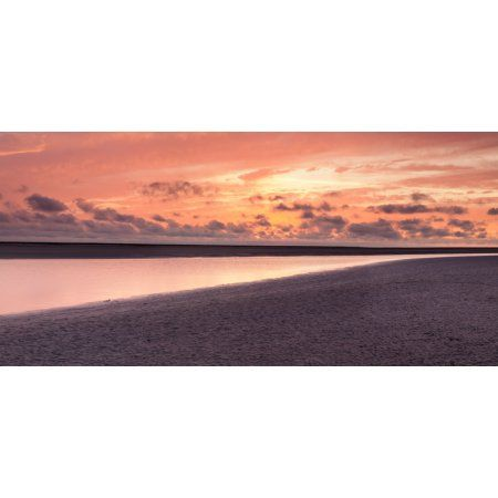 Sunset at the bay of Mont Saint-Michel Manche Basse-Normandy France Canvas Art - Panoramic Images (20 x 9)