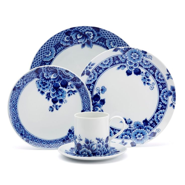 With its chic take on the century-old tradition of Delft porcelain, the Blue Ming 5-Piece Place Setting offers an exquisite look for transitional or contemporary table settings. The 5-piece place setting in rich Delft blue over elegant white porcelain includes (1) each: 10.9-inch dinner plate, 9-inch salad/dessert plate, 7.75-inch bread & butter plate, and a 4-inch tall teacup with saucer. All are adorned with a stylish update to classic Delftware patterns featuring ornate floral des...