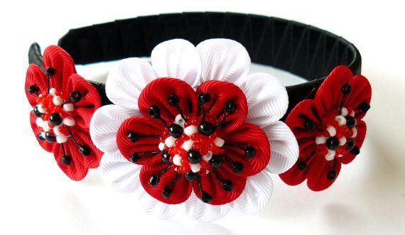 Kanzashi Fabric Flower headband black red and white by JuLVa, $15.00