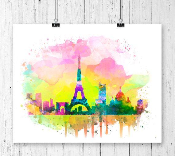 París Skyline acuarela lámina, cartel de París, impresión de Francia, arte de Torre Eiffel, arte de París, acuarela Paris, acuarela de horizonte de la ciudad