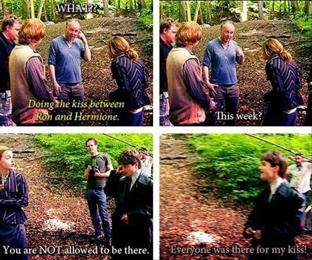 ron weasley and emma watson, first kiss, harry potter, funny quotes