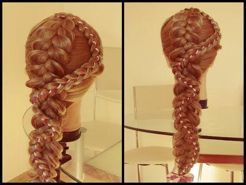 Четырехпрядная коса с лентой на длинные и средние волосы. Капралова Ольга - YouTube