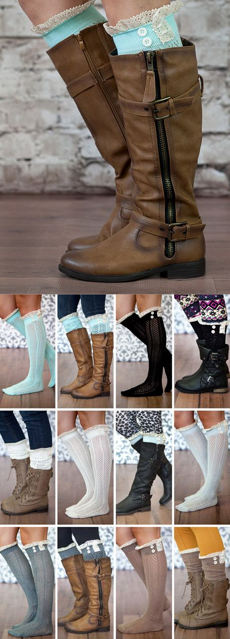 IN LOVE!! Boot socks galore! I love the lace and buttons on these. So cute!