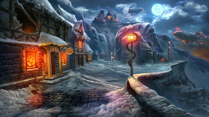 Clockwork Tales: Of Glass and Ink #steampunk #adventure #game #street #moon #snow #winter #art www.artifexmundi.com/page/clockwork/ www.facebook.com/ArtifexMundi.ClockworkTales