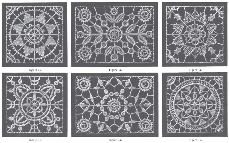 How to make Needle Lace with Patterns, DMC booklet from http://encyclopediaofneedlework.com