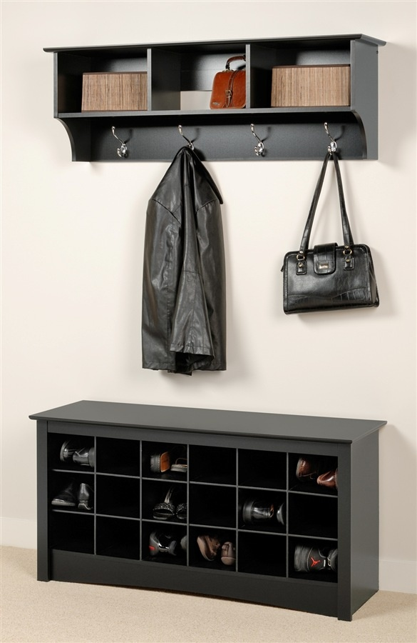 Entryway Shoe Storage Bench And Wall Mount Hutch