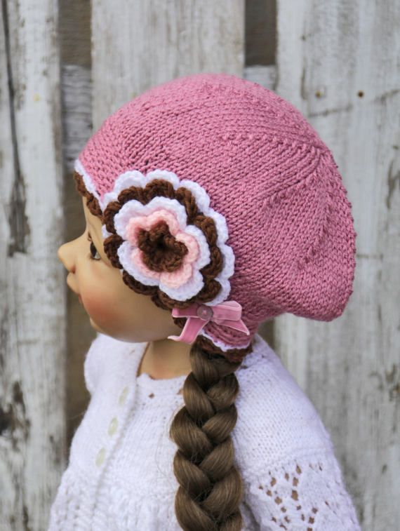 Knitted Children's hat cap brown dark pink white color