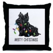 Scottie Christmas Lights Pets Throw Pillow by CafePress