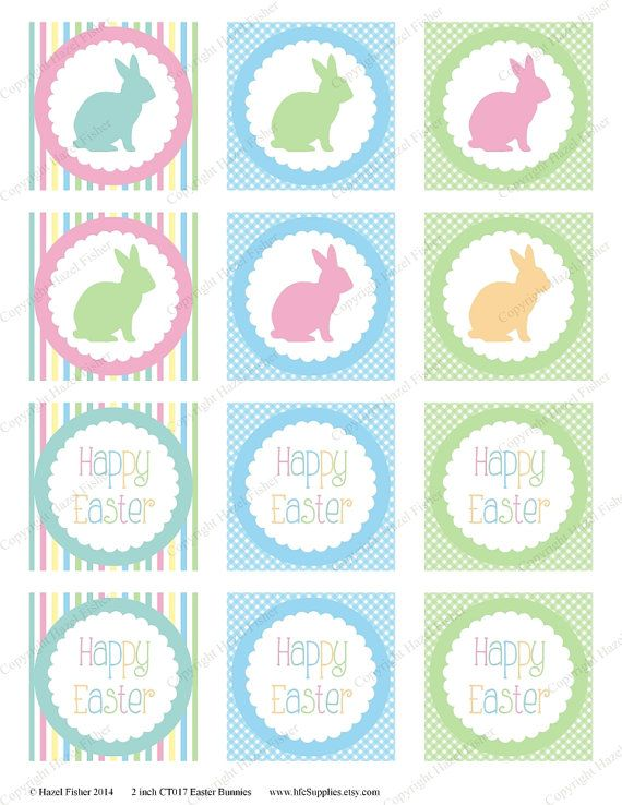 Pastel Bunnies Happy Easter cupcake toppers, party circles, favor tags by hfcSupplies on Etsy