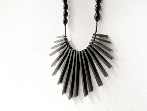 geometric tribal statement necklace with black by pergamondo