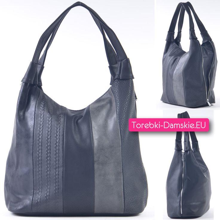 Czarno - ciemnoszara torba damska na ramię, mieści A4 - nowość w naszej kolekcji