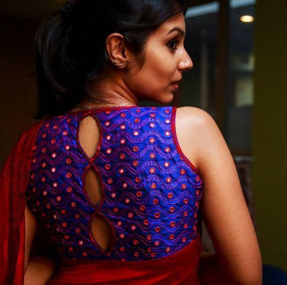blue designer blouse design