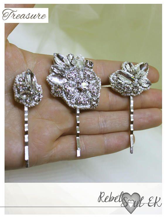 Bridal hair accessories  clear crystal wedding jewelry bride