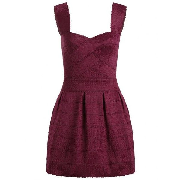 Sweetheart Neck Jacquard Puffball Dress Deep Red (£18) ❤ liked on Polyvore featuring dresses, sweetheart neckline dresses, red mini dress, purple dresses, short red dress and mini dress