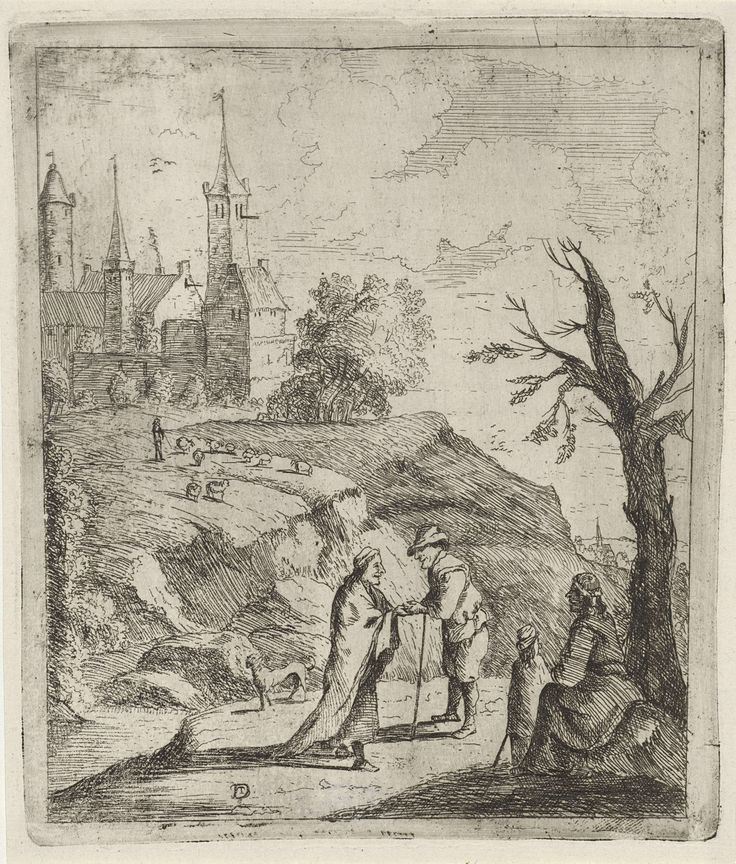 Anonymous | Landschap met waarzegster, Anonymous, 1700 - 1799 | Landschap met enkele huizen en torens op een heuvel. Op de voorgrond leest een waarzegster de hand van een man. Onder een boom zit een vrouw met een kind.