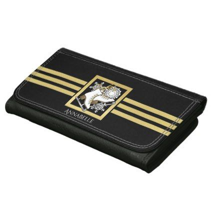 #Ice Skating Black Gold Modern Chic Personalized Wallets For Women - #elegant #gifts #stylish #giftideas #custom
