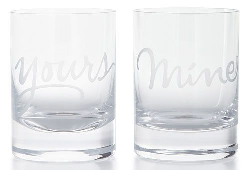 Romantic Valentine's day gifts for him 2015 - If you and your man like to keep your whiskey sours to yourselves, then you'll love this double old-fashioned glassware set, thoughtfully etched 'Mine' and 'Yours'.