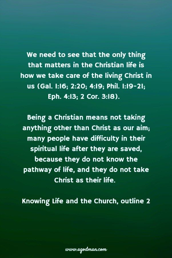 We need to see that the only thing that matters in the Christian life is how we take care of the living Christ in us (Gal. 1:16; 2:20; 4:19; Phil. 1:19-21; Eph. 4:13; 2 Cor. 3:18). Being a Christian means not taking anything other than Christ as our aim; many people have difficulty in their spiritual life after they are saved, because they do not know the pathway of life, and they do not take Christ as their life. Knowing Life and the Church, outline 2