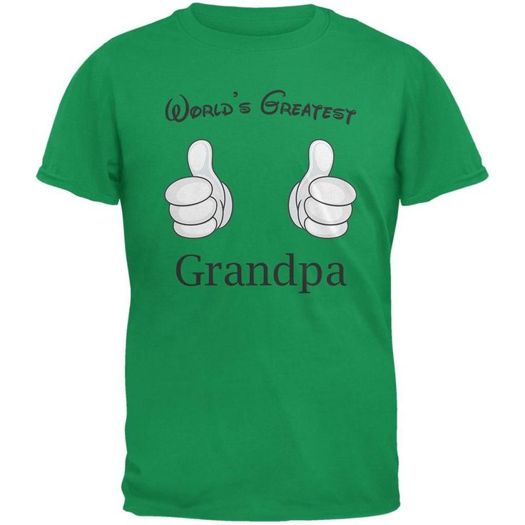 Father's Day - World's Greatest Grandpa Cartoon Green Adult T-Shirt