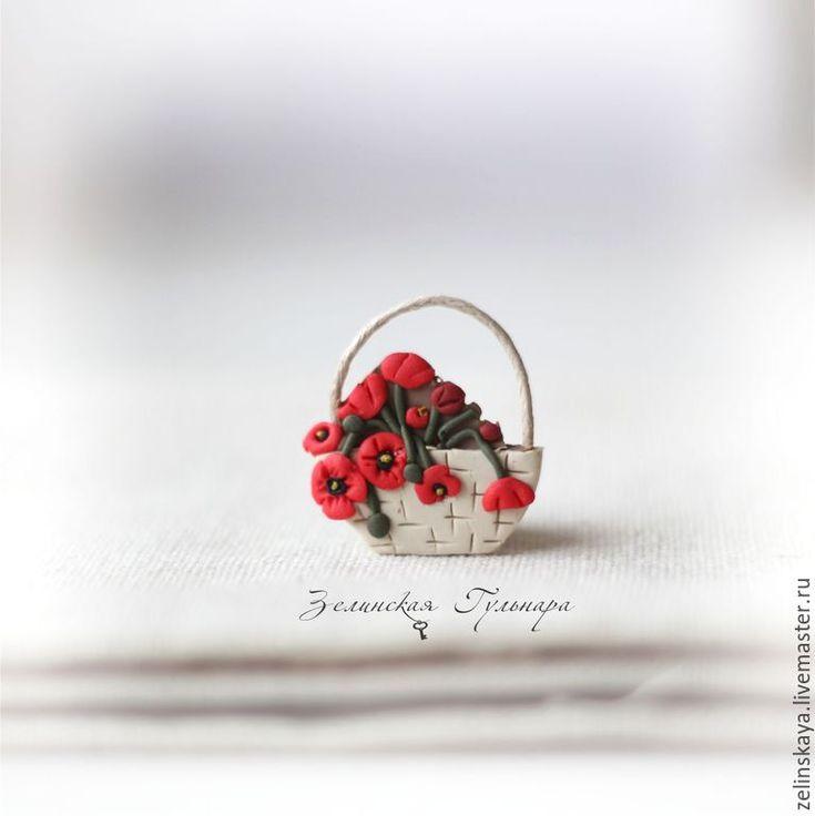 Купить Корзинка с маками. Брошь - ярко-красный, красный, маки, цветочная брошь, корзина с цветами