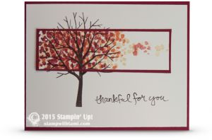 Stampin Up falling leaves card ——— STAMPIN UP S U P P L I E S ——— • Sheltering Tree Photopolymer Stamp Set #137163 • Very Vanilla 8-1/2X11 Card Stock #101650 • Cherry Cobbler 8-1/2X11 Card Stock #119685 • Cherry Cobbler Classic Stampin' Pad #126966 • Tangerine Tango Classic Stampin' Pad #126946 • So Saffron Classic Stampin' Pad #126957 • Early Espresso Classic Stampin' Pad #126974 • Stampin' Scrub #126200 • Stampin' Mist #102394 • Snail Adhesive #104332