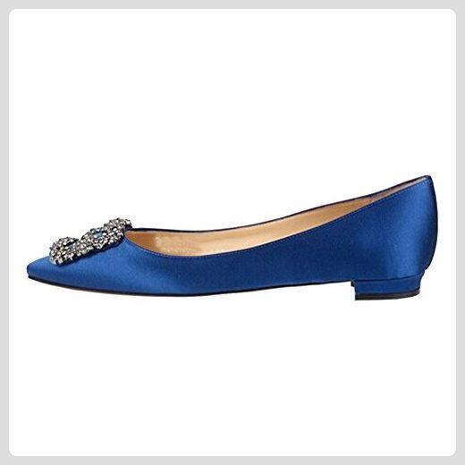 MERUMOTE Damen Mode Dekoration Rhinestones Casual Flache Ballerinas Blau 41 EU - Stiefel für frauen (*Partner-Link)